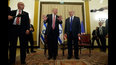 """Trump talks to reporters as he meets with Israeli Prime Minister Benjamin Netanyahu on May 22. <a href=""""http://www.cnn.com/2017/05/22/politics/trump-israel-russia-intelligence/"""" target=""""_blank"""">Trump sought to rebut claims</a> that he damaged Israeli intelligence capabilities by revealing highly classified information to Russian operatives earlier this month. """"Just so you understand, I never mentioned the word or the name Israel,"""" Trump told reporters as he began the second leg of his first foreign tour."""