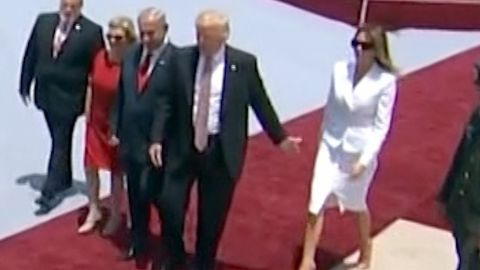 """A video clip <a href=""""http://www.cnn.com/2017/05/22/politics/melania-trump-hand-swat-israel/"""" target=""""_blank"""">went viral</a> in May 2017 after the first lady appeared to swat her husband's hand away after landing in Israel. It's unclear what caused the swat, if anything. The Trumps held hands minutes later on the tarmac. They also held hands multiple times during their tour of the Middle East."""