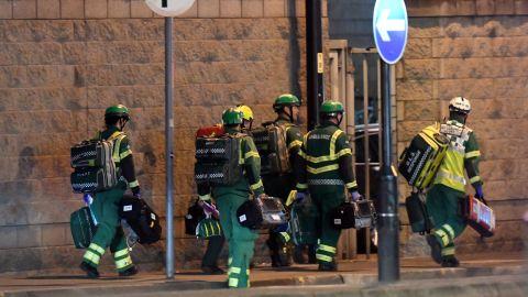 Paramedics respond to the scene.