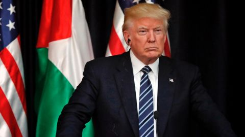 US President Donald Trump is seen during a joint press conference with the Palestinian leader at the presidential palace in the West Bank city of Bethlehem on May 23, 2017.