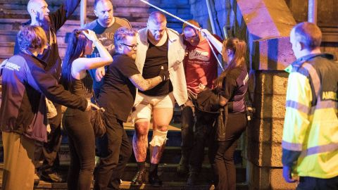 Emergency crews evacuated victims at the Manchester Arena Monday night.