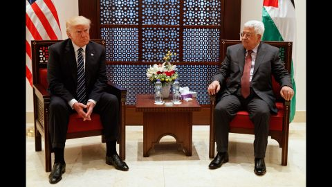 """Trump meets with Mahmoud Abbas, the President of the Palestinian Authority, on May 23. Trump met with Israeli leaders the day before and said he believes both sides <a href=""""http://www.cnn.com/2017/05/23/politics/trump-israel-museum-peace/"""" target=""""_blank"""">""""are ready to reach for peace."""" </a>"""