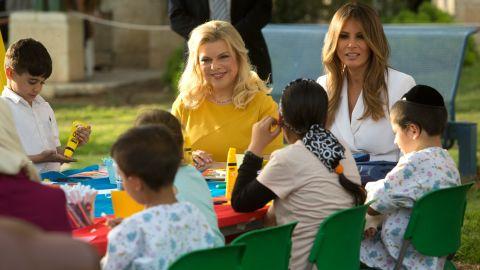 Melania Trump and Israeli first lady Sara Netanyahu speak to children during their visit to the Hadassah hospital in Jerusalem on May 22.