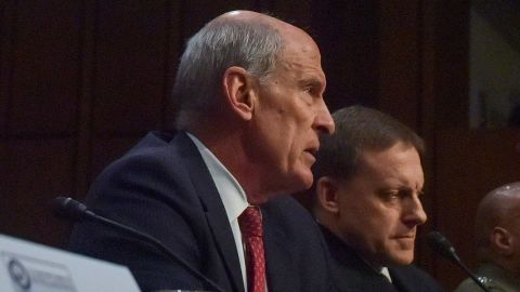 WASHINGTON, DC - MAY 11: Daniel R. Coats, Director of National Intelligence, L, and Admiral Michael Rogers, Director of the National Security Agency, testify before the U.S. Senate Select Committee on Intelligence concerning Worldwide Threats in the Senate Hart Building on Thursday, May 11, 2017, in Washington, DC.  This hearing comes on the heel of the firing of FBI Director James Comey, who was supposed to take part. (photo by Jahi Chikwendiu/The Washington Post via Getty Images)