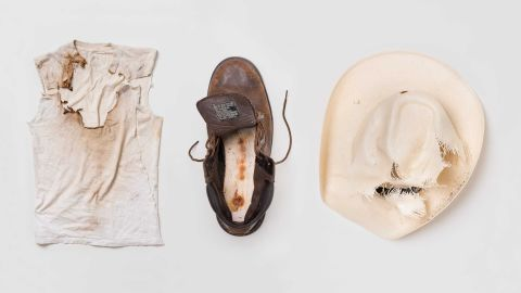 The hat and shirt worn by Jaime Santana and boots worn by Justin Gauger when they were struck by lightning in Arizona, US.