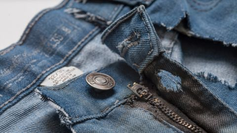 Jeans worn by Jaime Santana the day he was struck by lightning.