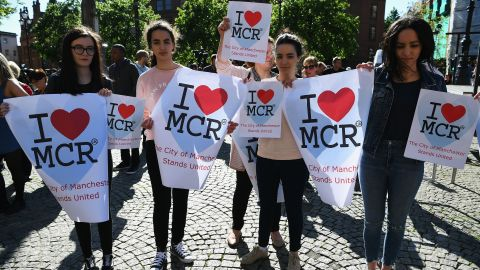 Members of the public gather to attend a candlelit vigil, to honour the victims of Monday evening's terror attack, at Albert Square on May 23, 2017 in Manchester, England. Monday's explosion occurred at Manchester Arena as concert goers were leaving the venue after Ariana Grande had just finished performing. Greater Manchester Police are treating the explosion as a terrorist attack and have confirmed 22 fatalities and 59 injured.