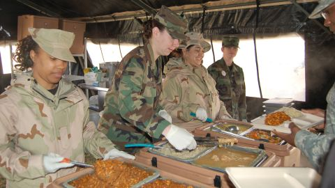 Sometimes, meals must be prepared in the field with limited resources. This meal was prepared out of UGR's, or Unitized Group Rations, using only a vat of boiling water. UGR's are pre-prepared, processed and shelf-stable foods packaged in hermetically sealed steam table containers. Each of the three breakfast and 14 lunch/dinner menus contains all necessary food and disposable items to feed 50 people, according to the Defense Logistics Agency.