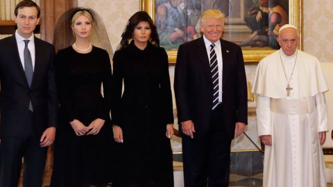 """Pope Francis stands with Trump and his family during <a href=""""http://www.cnn.com/2017/05/24/politics/trump-pope-francis-vatican-city/index.html"""" target=""""_blank"""">a private audience at the Vatican</a> on May 24. Joining the President, from left, are Trump's son-in-law, White House senior adviser Jared Kushner; Trump's daughter and adviser Ivanka Trump; and first lady Melania Trump."""