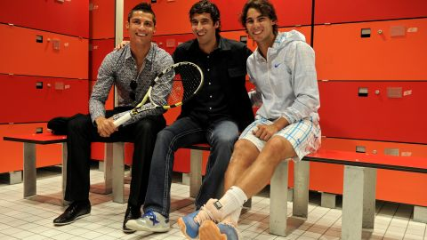 Access is normally restricted to players and coaches only, though exceptions can be made. Real Madrid icons Cristiano Ronaldo (L) and Raul are pictured posing with Nadal during the Madrid Masters in May 2010.