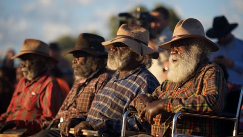 Australian Aboriginal men at the First Nations National Convention in the Northern Territory, held between Wednesday and Friday this week.