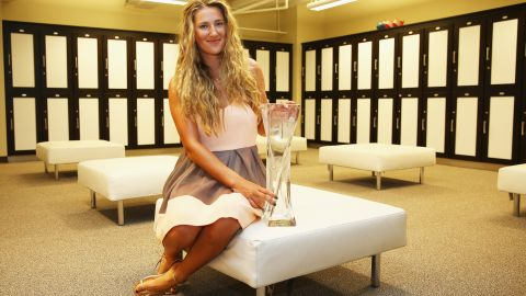 Victoria Azarenka of Belarus is pictured at Crandon Park Tennis Center at the Miami Open. Azarenka, who also isn't competing at Roland Garros, recently hinted in a tweet this week she would play at Wimbledon later this year after intending to make her own comeback -- the Belarussian gave birth to son Leo in December and hasn't played since last year's French Open -- at a Wimbledon warmup tournament.