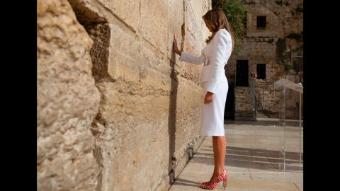 Trump visits the Western Wall, Judaism's holiest prayer site, while in Jerusalem in May 2017.