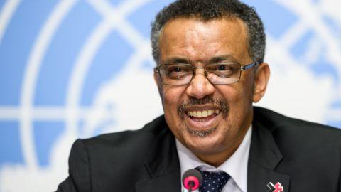 New World Health Organization Director General Tedros Adhanom Ghebreyesus holds a news conference May 24 in Geneva.