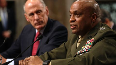 Defense Intelligence Agency Director Lt. Gen. Vincent Stewart, right, accompanied by Director of National Intelligence Dan Coats, speaks before the Senate Armed Services Committee  on Tuesday.