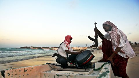 Somali pirates carrying out preparations to a skiff boat used to attack ships. A spate of hijackings in the High Risk Area (HRA) off the Somali coast has raised alarm after a period of calm.