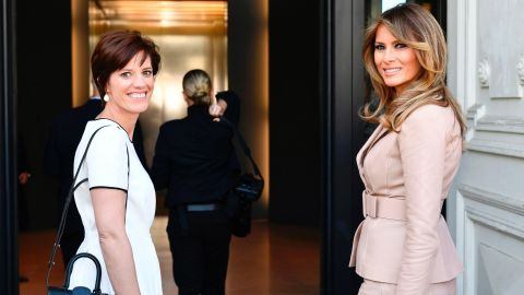 Melania Trump visits the Magritte Museum in Brussels with Amelie Derbaudrenghien, partner of Belgian Prime Minister Charles Michel.