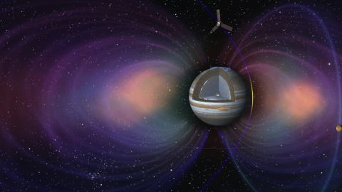 This artist's concept shows the pole-to-pole orbits of the NASA's Juno spacecraft at Jupiter.