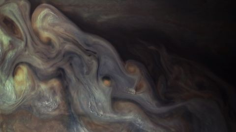 An even closer view of Jupiter's clouds obtained by NASA's Juno spacecraft.