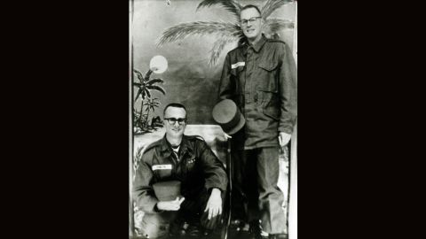 Kennedy, right, spent time with the California Army National Guard after finishing law school in 1961. The man on the left, John J. Hamlyn Jr., also became a lawyer like Kennedy.