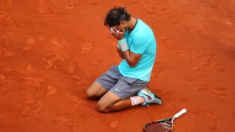Perhaps a sign of entering into his late 20s, Nadal's colors switched from fluorescent to more mellow tones. Despite being hampered by injuries and suffering surprise defeats early in the clay court season, Nadal grinded out arguably his most impressive Roland Garros victory. Another victory in the final against Djokovic took him to 14 grand slams (level with Pete Sampras) and it was his fifth straight French Open triumph.
