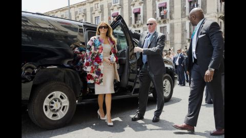 """Melania Trump arrives at the City Hall in Catania, Italy, on May 26. She was wearing <a href=""""http://www.cnn.com/2017/05/26/politics/melania-trump-dolce-gabbana-jacket-sicily/index.html"""" target=""""_blank"""">a $51,500 Dolce & Gabbana jacket </a>as she met with other spouses of G-7 leaders."""