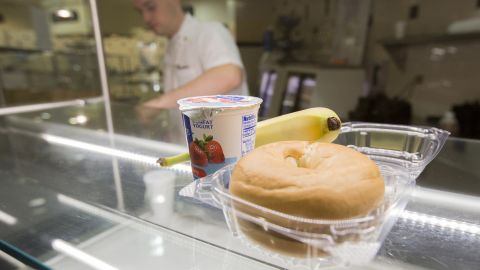 """For those with less time, the military offers healthy grab-and-go breakfast options such as bagels, fruit and yogurt. """"There is a huge food transformation initiative across the services,"""" Deuster said. """"Everyone is realizing that nutrition is very, very important for performance."""""""