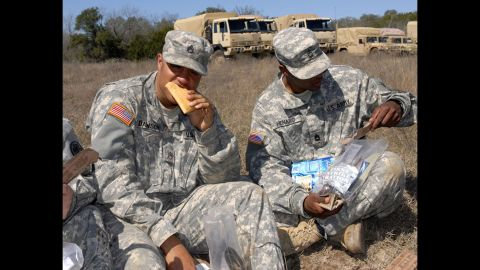 """These troops are chowing down on a """"first-strike"""" shelf-stable pocket sandwich, which the Department of Defense says has always scored high in field tests. It's called first strike because it's designed to be used during initial periods of highly intense, highly mobile combat operations.<br />""""Between MREs, first-strike options and modular rations, they've got such a variety of options,"""" Deuster said. """"Sports bars, raisins, applesauce -- there are all sorts of things you can eat on the go."""""""