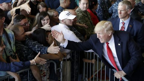 President Trump greets people on May 27, after speaking to US troops at Naval Air Station Sigonella.