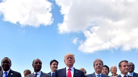 Leaders of the G-7 and some African nations pose for a photo on May 27, on the second day of the G-7 summit in Taormina, Italy.