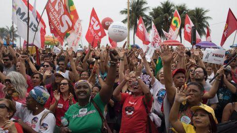 Demonstrators protest against Brazilian President Michel Temer at the Copacabana beach in Rio de Janeiro, Brazil on Sunday.