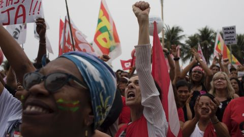 Demonstrators call for Brazilian President Michel Temer to resign amid corruption allegations.