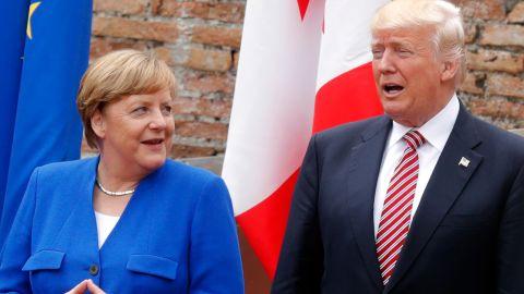 German Chancellor Angela Merkel and US President Donald Trump at the G7 summit in Taormina, Sicily, on May 26, 2017.