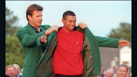 Woods set out on his legendary path by becoming the youngest winner of the Masters -- at 21 -- with a record 12-shot win in 1997.