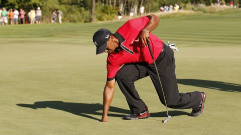 Later in 2013 there were signs all was not well as Woods was seen to be in pain as he picked the ball out of the hole at the Barclays tournament in August. He missed the Masters the following April for the first time since 1994 to undergo back surgery.