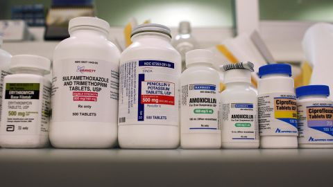 Bottles of antibiotics line a shelf in 2007 at a Publix Supermarket pharmacy in Miami.