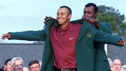 """Woods' victory in the 2001 Masters meant he held all four of golf's major titles at the same time, dubbed the """"Tiger Slam."""""""