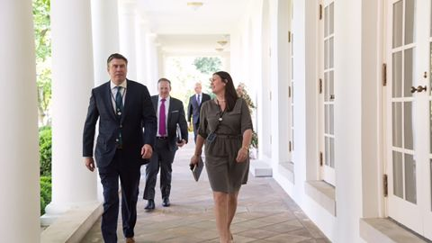 Mike Dubke, former White House Communications Director walks with Sean Spicer and Sarah Huckabee Sanders.