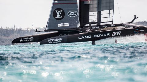 Land Rover BAR skippered by Ben Ainslie competes on the second day of the America's Cup on May 28, 2017 on Bermuda's Great Sound.