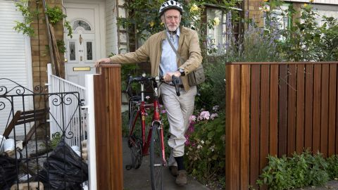 Britain's opposition Labour Party leader Jeremy Corbyn leaves his home by bicycle, in London on July 26, 2016. Corbyn, an anti-war campaigner who is sharply to the left of most Labour MPs, was only elected last September but has been battling for his job since the Brexit vote in last month's EU referendum. / AFP / JUSTIN TALLIS        (Photo credit should read JUSTIN TALLIS/AFP/Getty Images)