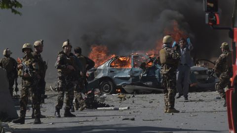 Afghan security forces personnel are seen at the site of a car bomb attack in Kabul on May 31, 2017.At least 40 people were killed or wounded on May 31 as a massive blast ripped through Kabul's diplomatic quarter, shattering the morning rush hour and bringing carnage to the streets of the Afghan capital. / AFP PHOTO / SHAH MARAI        (Photo credit should read SHAH MARAI/AFP/Getty Images)