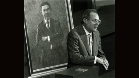 Kennedy speaks at the McGeorge School of Law in 1991. He delivered the inaugural address in a lecture series named for the late Archie Hefner, whose portrait is behind Kennedy. Hefner was a prominent Sacramento attorney active in numerous civic and charitable groups. He died in 1988.