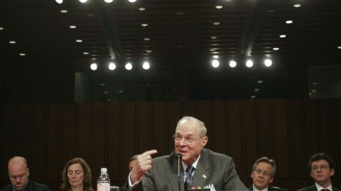 In February 2007, Kennedy testifies at a Senate committee hearing on judicial security and independence.