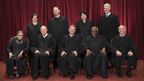 The justices of the U.S. Supreme Court gather for an official group portrait to include new Associate Justice Neil Gorsuch, top row, far right, Thursday. June 1, 2017, at the Supreme Court Building in Washington. Seated, from left are, Associate Justice Ruth Bader Ginsburg, Associate Justice Anthony Kennedy, Chief Justice John Roberts, Associate Justice Clarence Thomas, and Associate Justice Stephen Breyer. Standing, from left are, Associate Justice Elena Kagan, Associate Justice Samuel Alito Jr., Associate Justice Sonia Sotomayor, and Associate Justice Neil Gorsuch.