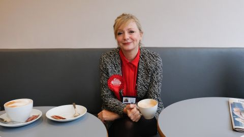 Labour party candidate Tracy Brabin sits with a coffee in a cafe in Batley following early morning canvassing on October 20, 2016 in Batley, United Kingdom.
