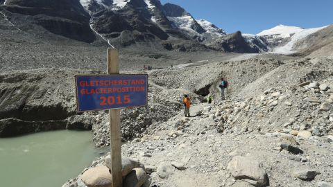 """The Pasterze glacier is Austria's largest and it's shrinking rapidly: the sign on the trail indicates where the foot of the glacier reached in 2015, a year before this photo was taken. The European Environmental Agency <a href=""""https://www.eea.europa.eu/data-and-maps/indicators/glaciers-2/assessment"""" target=""""_blank"""" target=""""_blank"""">predicts</a> the volume of European glaciers will decline by between 22 percent and 89 percent by 2100, depending on the future intensity of greenhouse gases."""