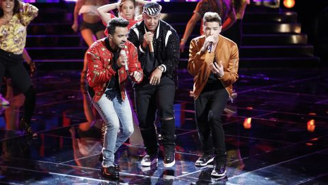 Luis Fonsi and Daddy Yankee perform 'Despacito' with contestant Mark Isaiah in 'The Voice' finale.
