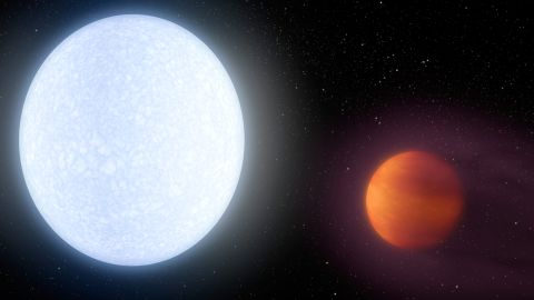 Welcome to the KELT-9 system. The host star is a hot, rapidly rotating A-type star that is about 2.5 times more massive and almost twice as hot as our sun. The hot star blasts its nearby planet KELT-9b with massive amounts of radiation, leading to a daylight temperature of 7800 degrees Fahrenheit, hotter that most stars and only 2000 degrees cooler than the sun.