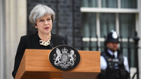"""Prime Minister Theresa May makes a statement at 10 Downing Street, following a Cobra security meeting in response to Saturday night's terror attack. Violence must """"never be allowed to disrupt the democratic process,"""" May said, adding that Thursday's general election will go ahead."""