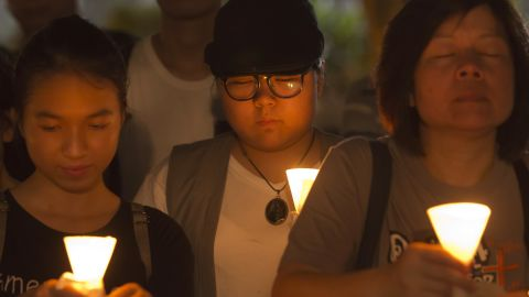 Hong Kongers commemorate victims of the Chinese government's brutal military crackdown nearly three decades ago on protesters in 1989 Beijing's Tiananmen Square.